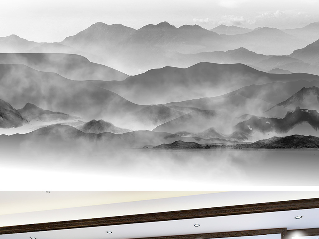 山水水墨国画水墨山水风景画水墨山水背景墙中式水墨山水背景墙新中图片