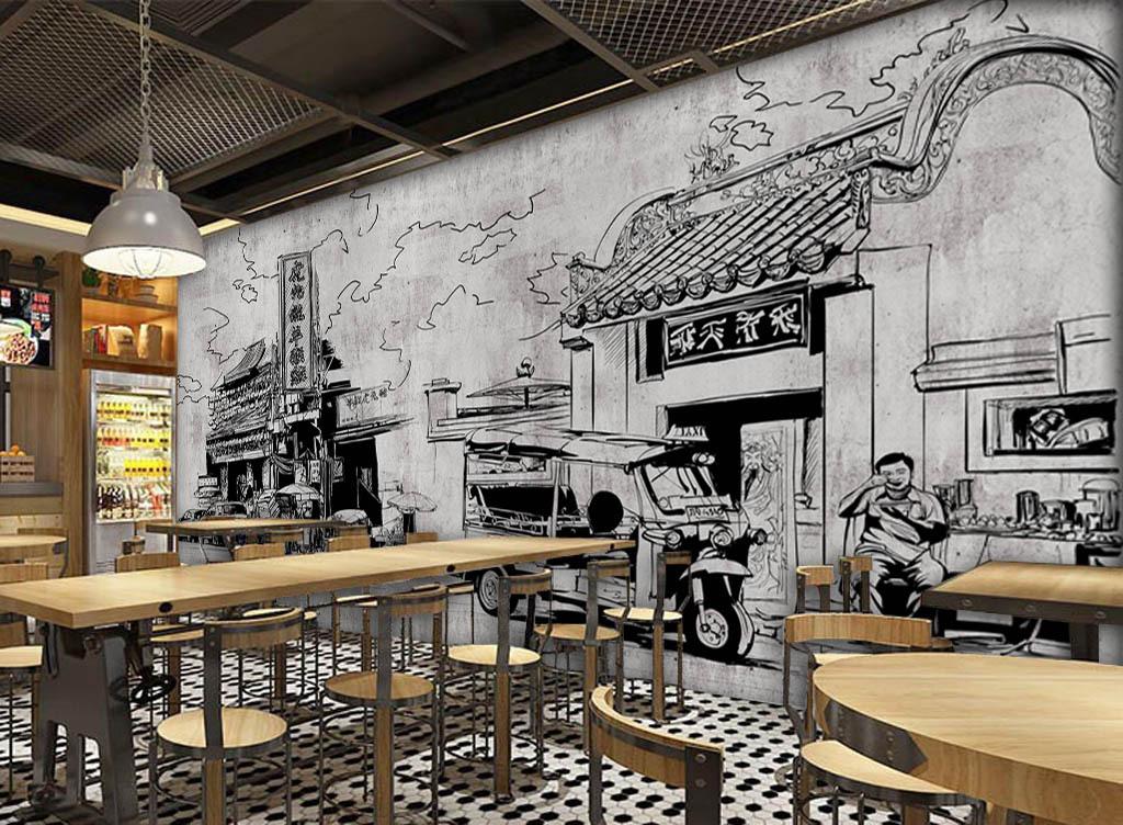 酒吧咖啡店背景墙