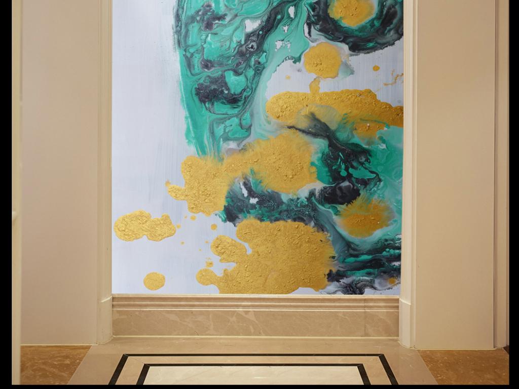 原创立体抽象艺术手绘油画玄关