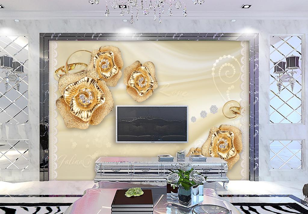 图网提供精品流行钻石珍珠花朵浪漫唯美欧式电视背景