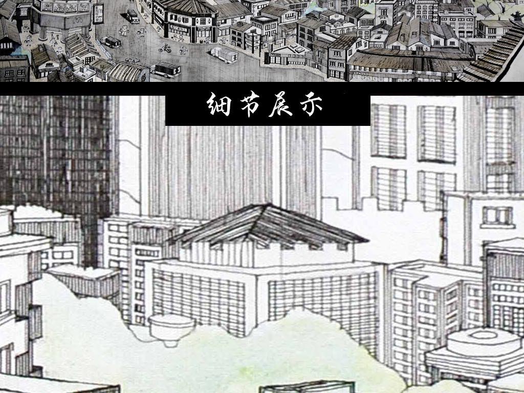 手绘线条深圳东门老街建筑风景画
