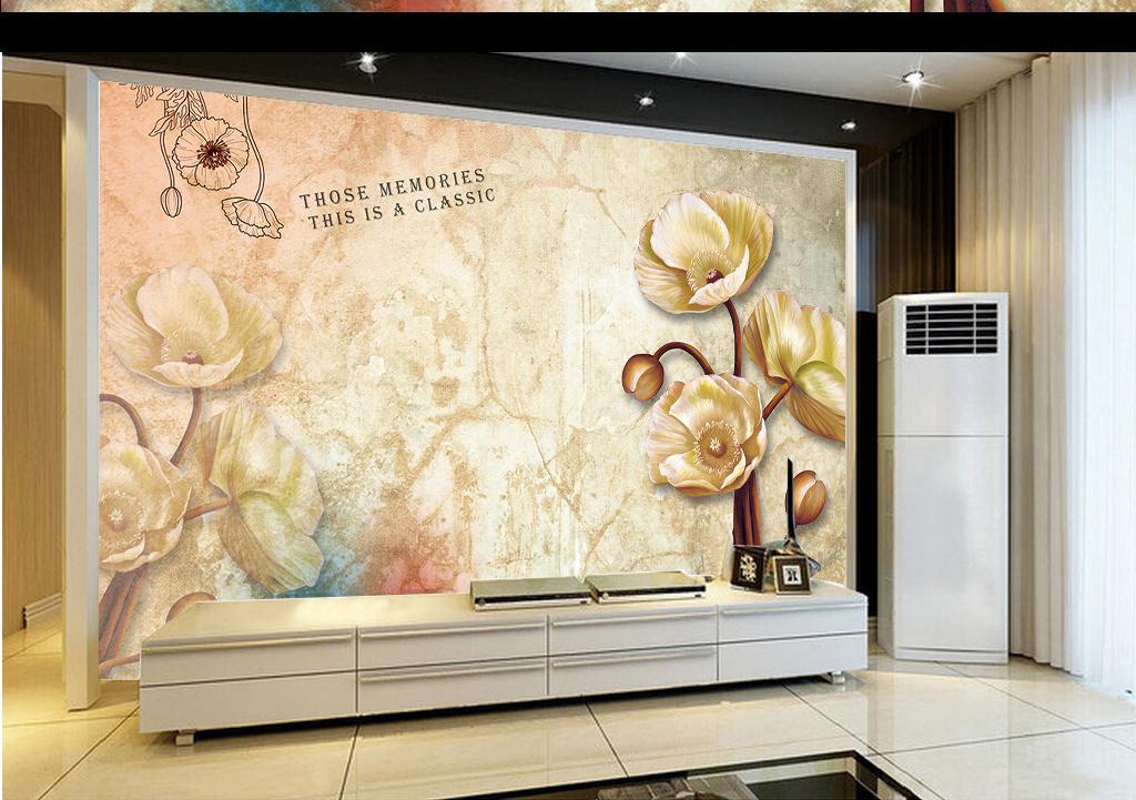 我图网提供精品流行欧式复古花卉电视背景墙纸