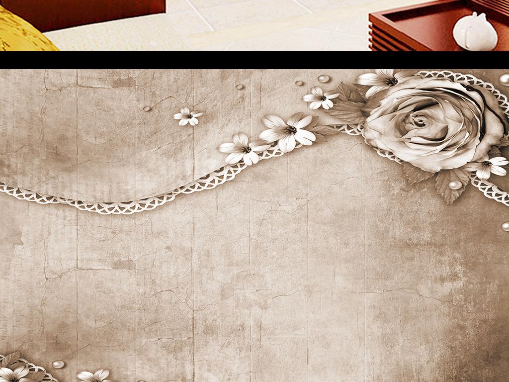 手绘怀旧复古艺术牡丹玫瑰花背景墙