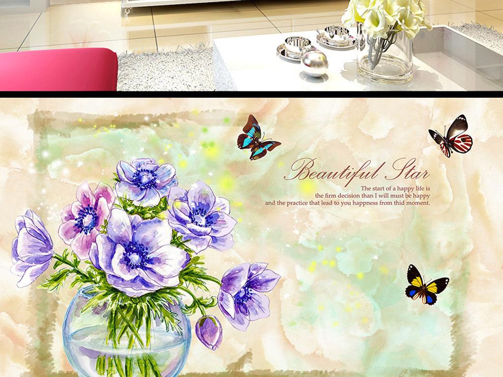 大理石手绘花卉蝴蝶电视背景墙