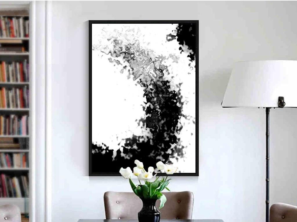 黑白手绘墨迹写意现代抽象新中式家居装饰画素材下载
