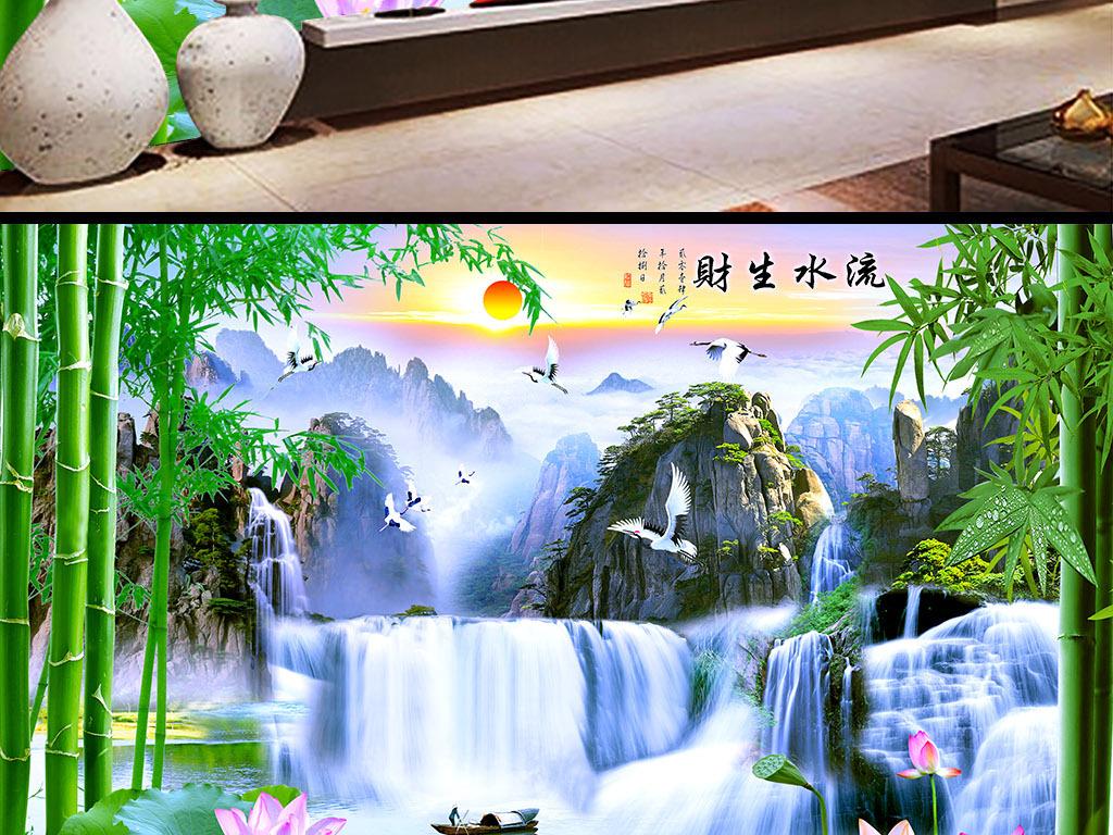 唯美山水画电视背景墙壁画