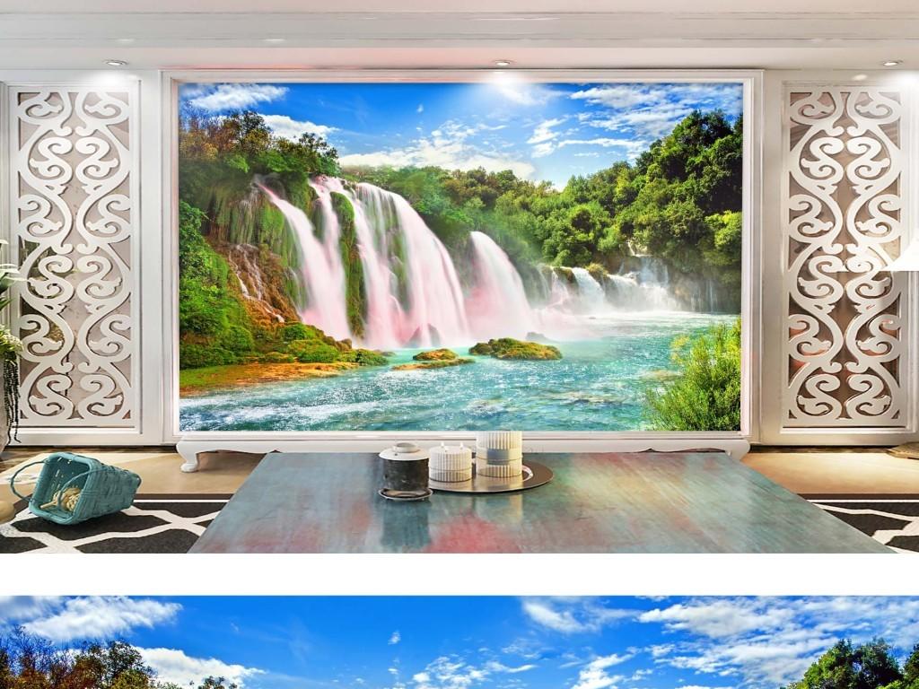 我图网提供精品流行高清瀑布风景画山水自然风光背景