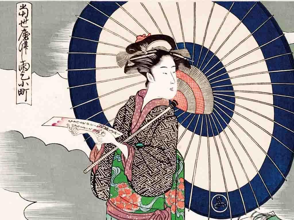 有伞古代美女手绘线描