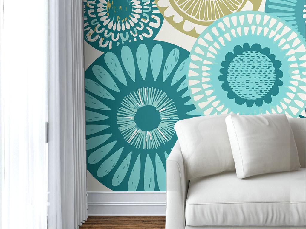线条简约手绘现代手绘欧式花纹墙纸室内设计室内装修室内装饰画3d室