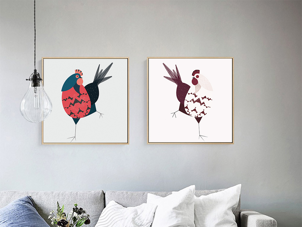 北欧简约卡通无框画鸡动物无框画手绘插画