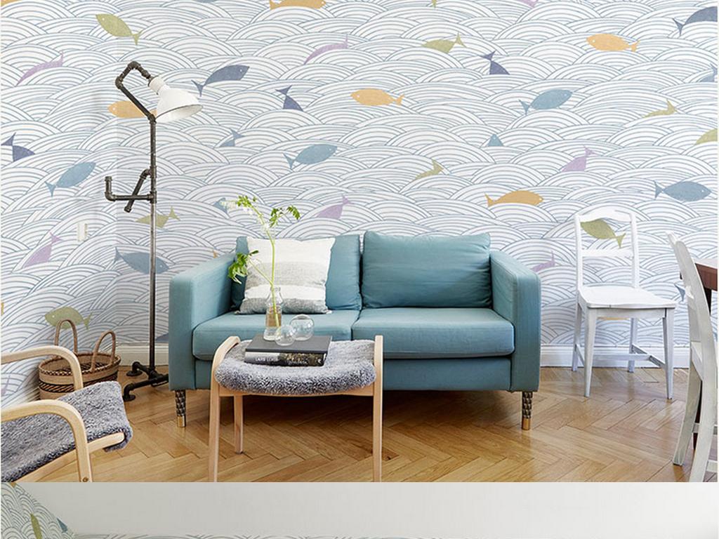 儿童房背景墙 > 手绘波浪