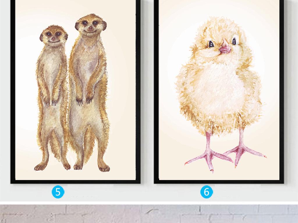 北欧简约卡通无框画动物无框画手绘插画