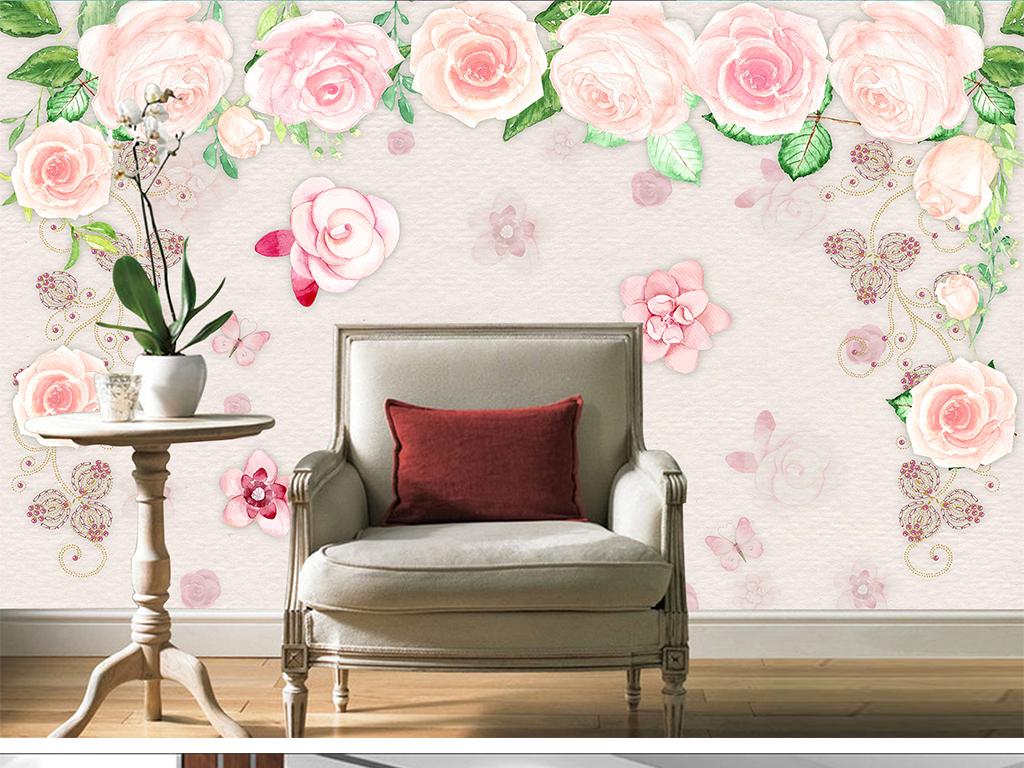 手绘蔷薇玫瑰花田园小清新文艺范背景墙