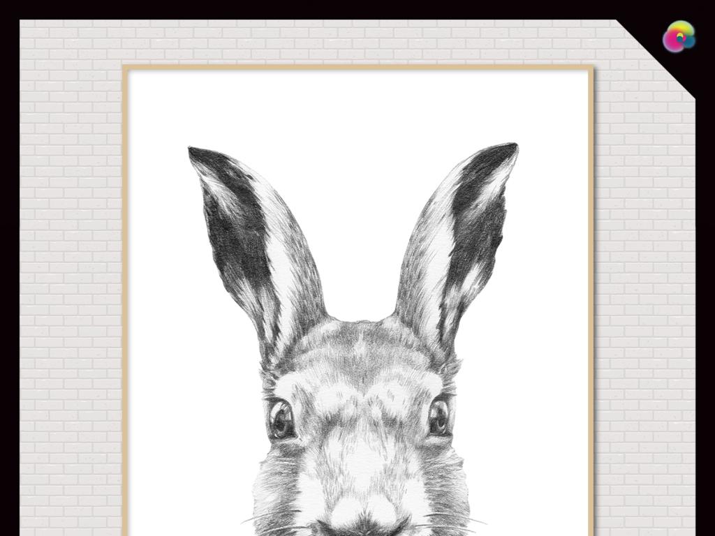 现代简约手绘小清新动物兔子素描插画无框画