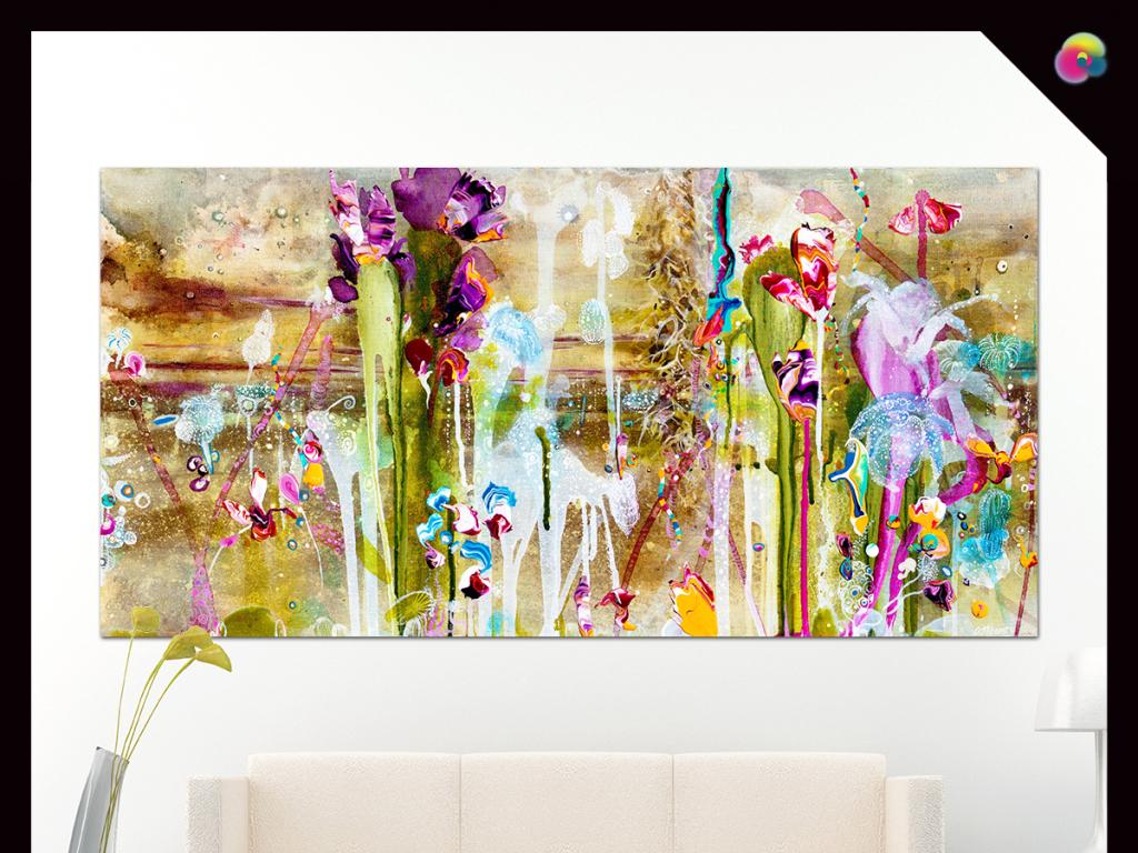 高清手绘花卉花朵电视背景墙装饰画(图片编号:)