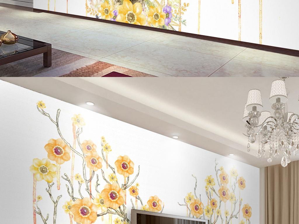 手绘北欧麋鹿花卉电视背景墙(极品)