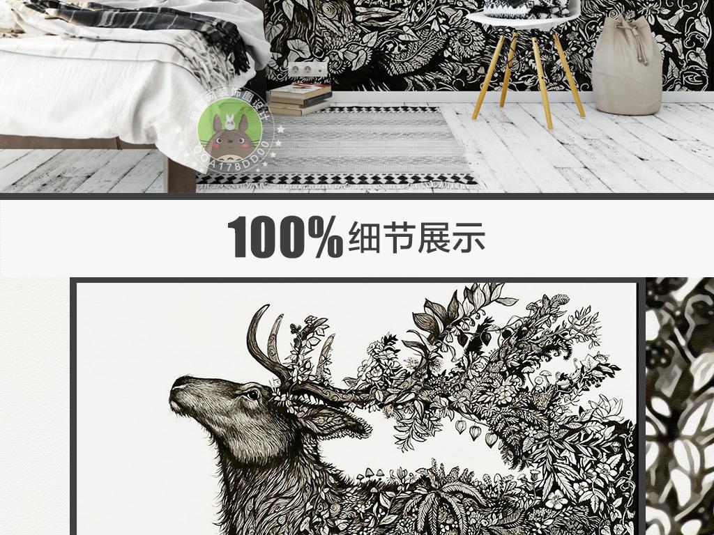 抽象森林麋鹿沙发背景墙装饰画