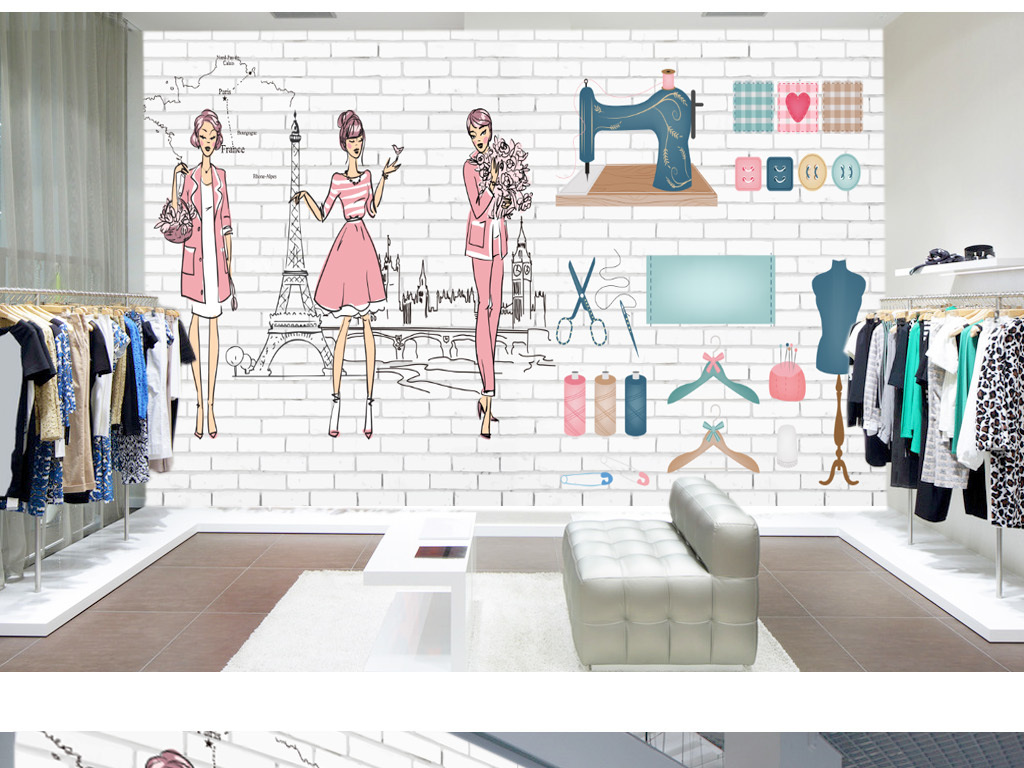 手绘美女时尚个性服装店背景墙壁画