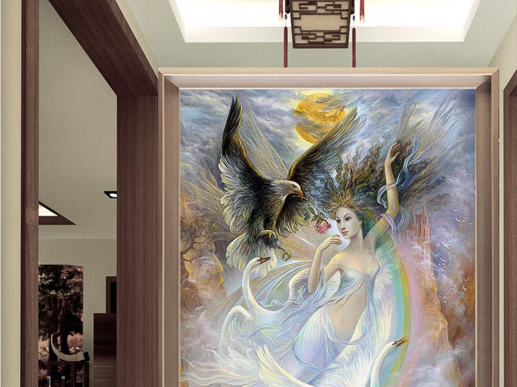 欧式油画天使与动物玄关背景墙壁画