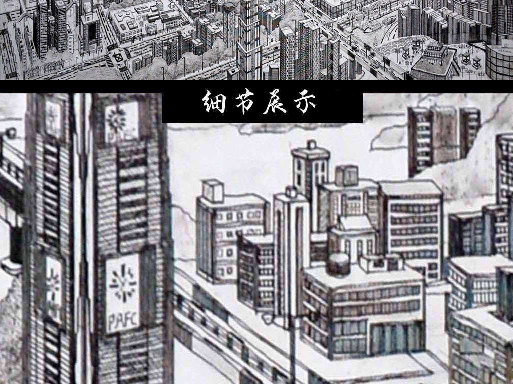 手绘素描深圳建筑风景画