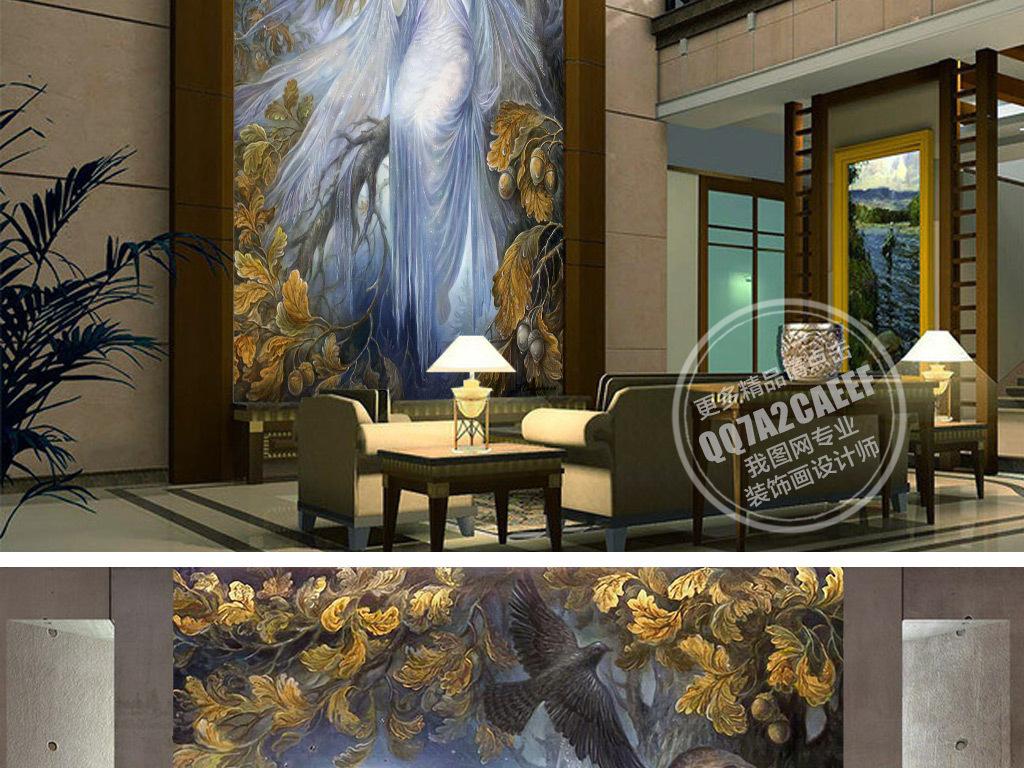 我图网提供精品流行欧式油画美丽天使玄关背景墙