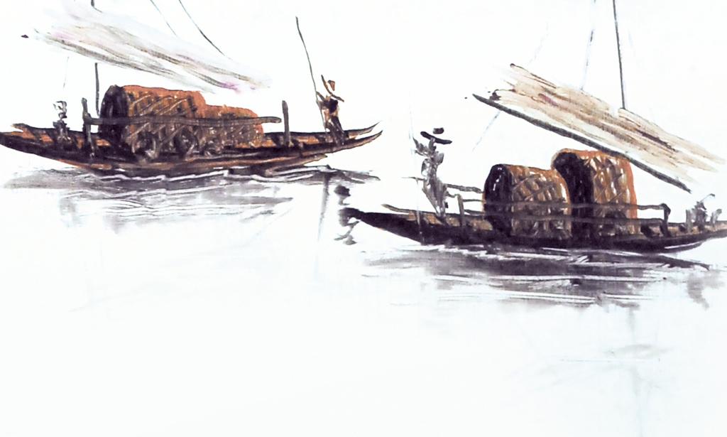 中式古帆船手绘