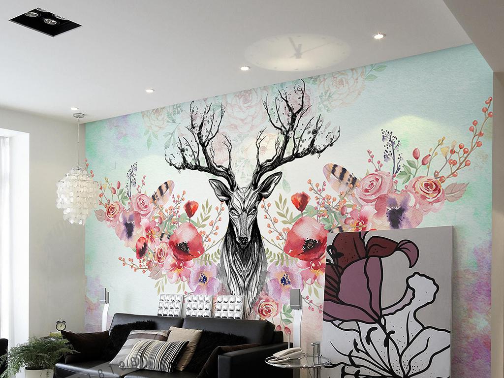 手绘鹿背景墙