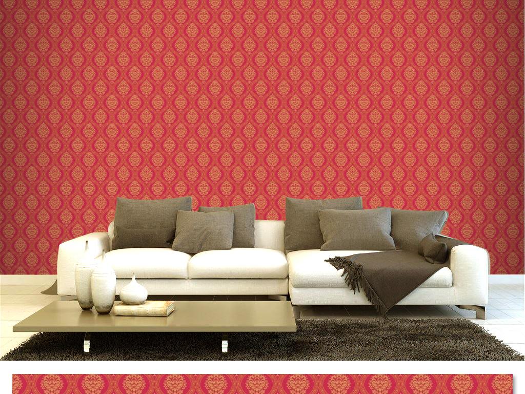 优雅暗红色底纹花朵电视背景墙客厅卧室壁纸