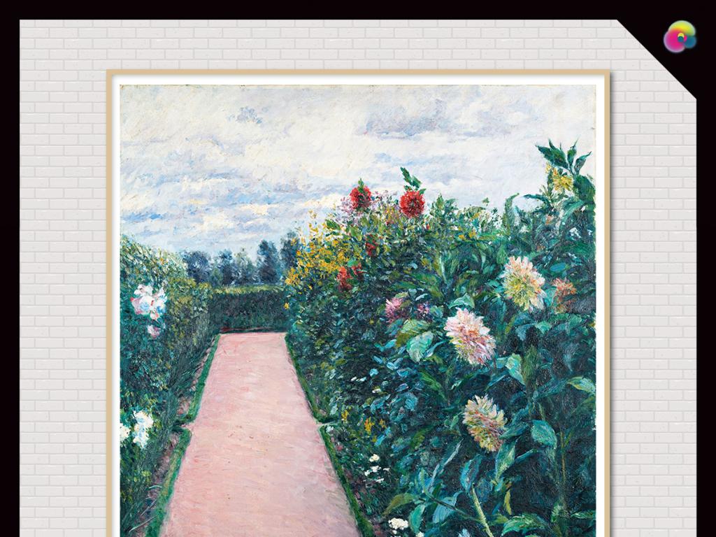 高清手绘花草植物油画复古欧式画装饰画