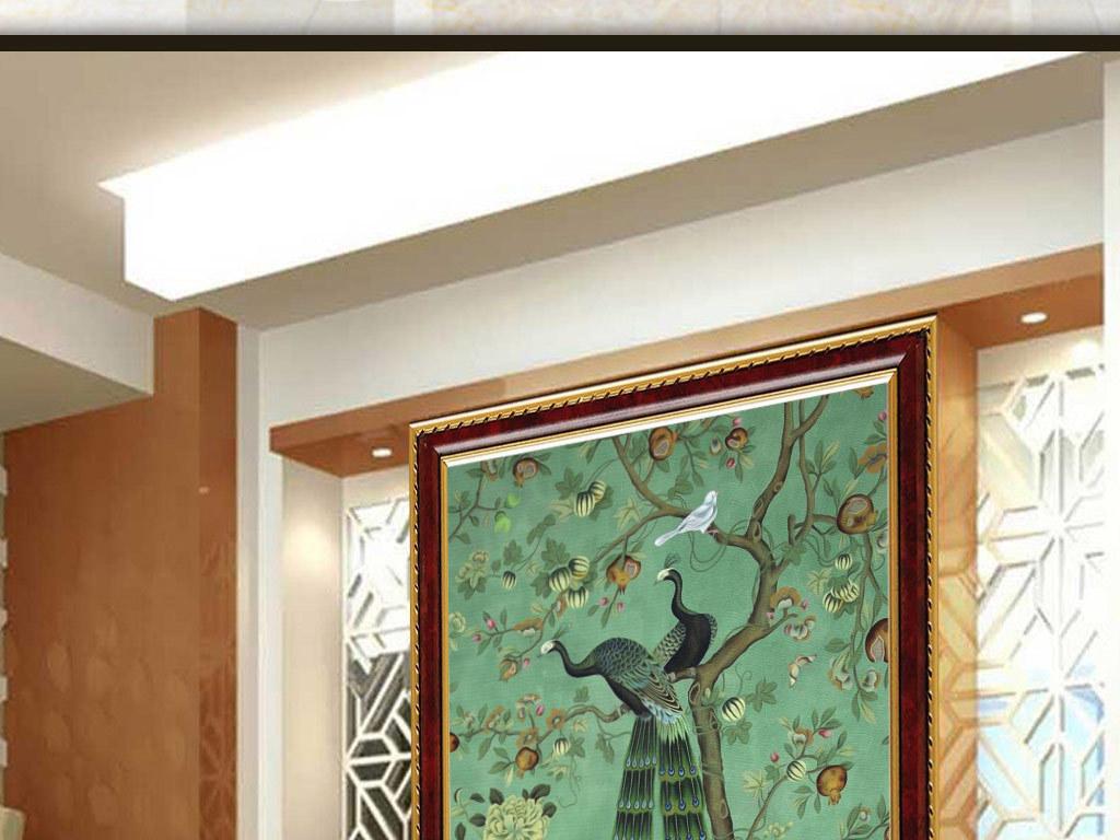 欧式复古手绘花鸟玄关背景墙