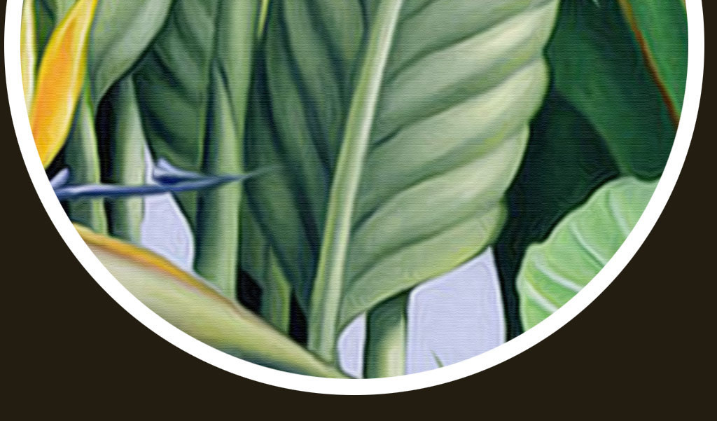 欧式工笔手绘热带植物玄关壁画