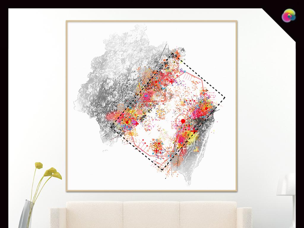 无框画 抽象图案无框画 > 北欧现代简约创意抽象手绘树叶几何装饰画