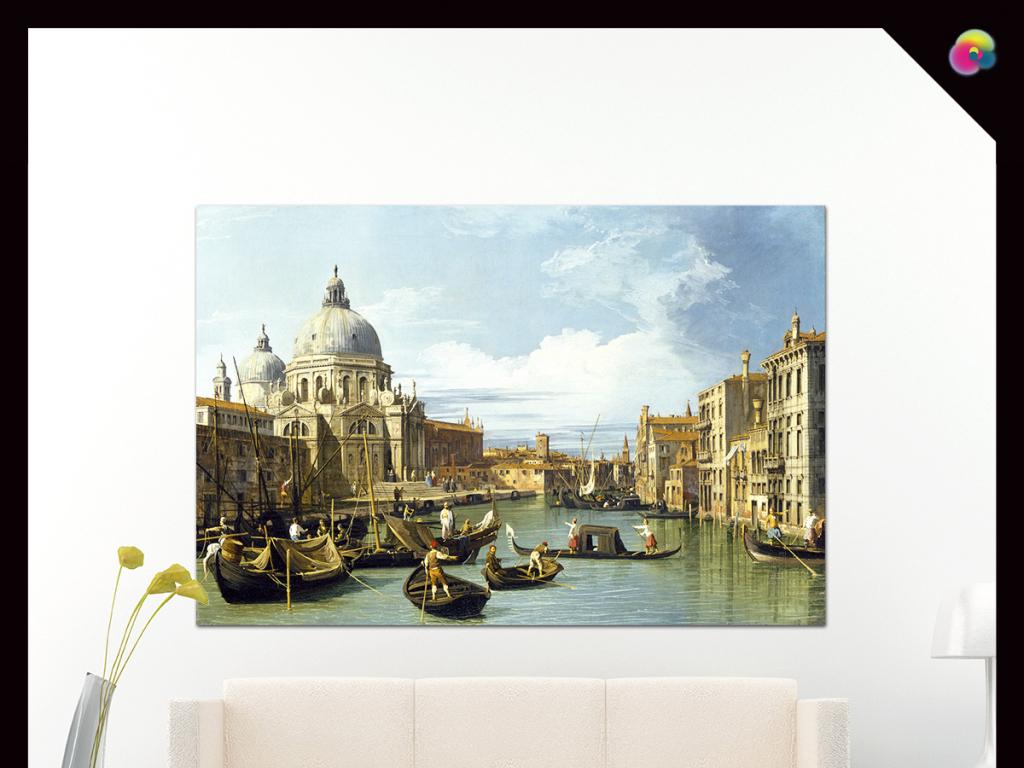 手绘复古欧洲小镇帆船风景油画装饰画