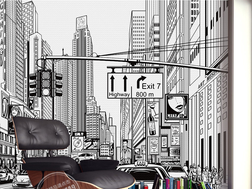 欧式黑白手绘街景背景墙装饰画
