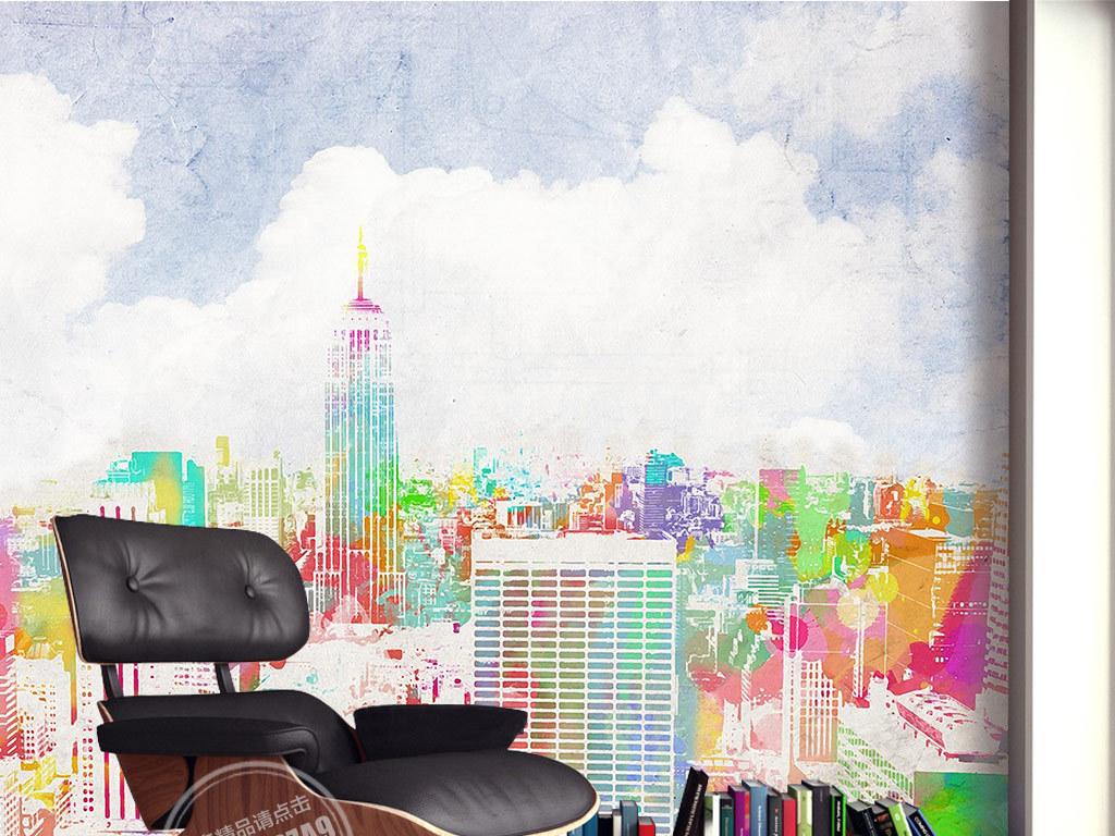 欧式手绘彩色城市风景背景墙装饰画