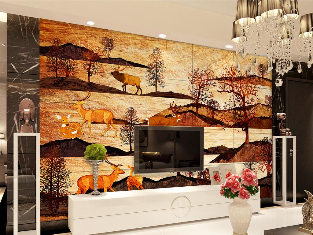 木纹麋鹿山水森林背景墙