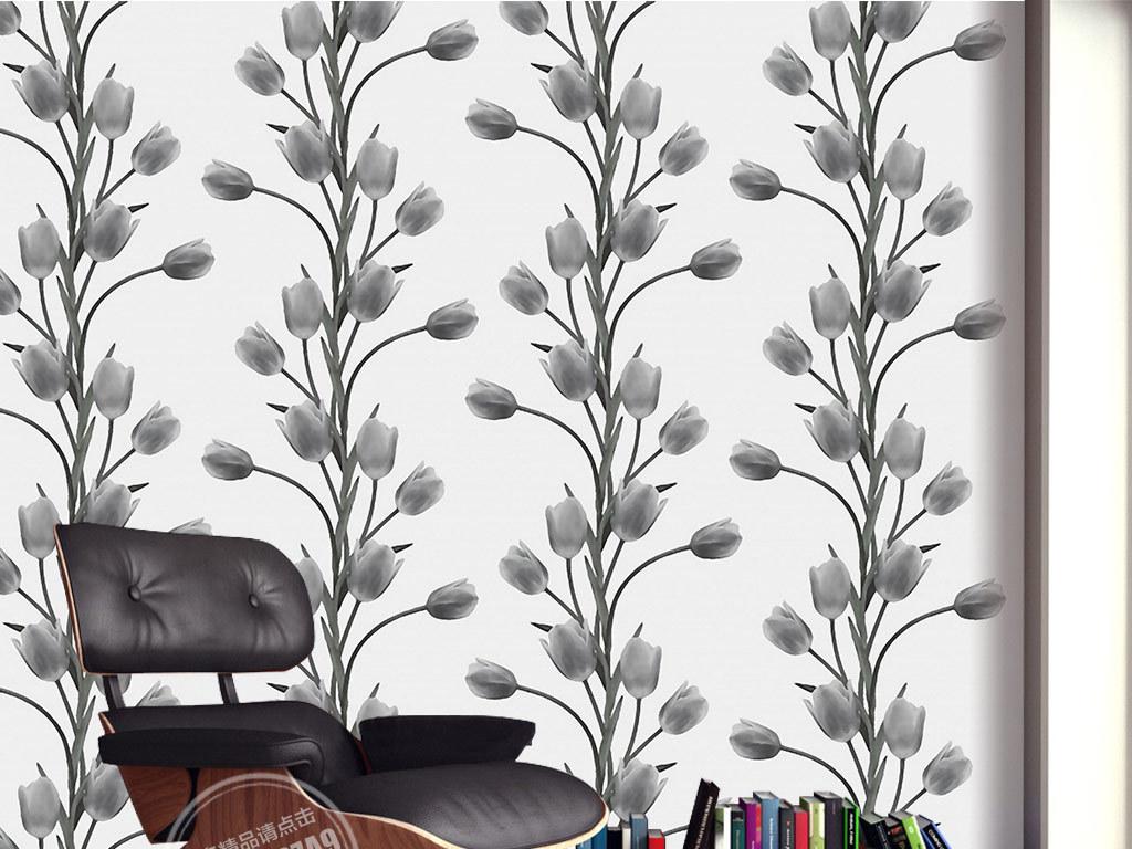 欧式手绘黑白郁金香背景墙装饰画