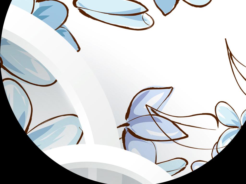 蓝色手绘花卉立体圆圈现代时尚3d背景墙图片设计素材