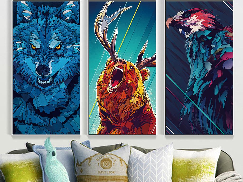 背景墙|装饰画 无框画 动物图案无框画 > 手绘老鹰狼熊四联装饰画无框