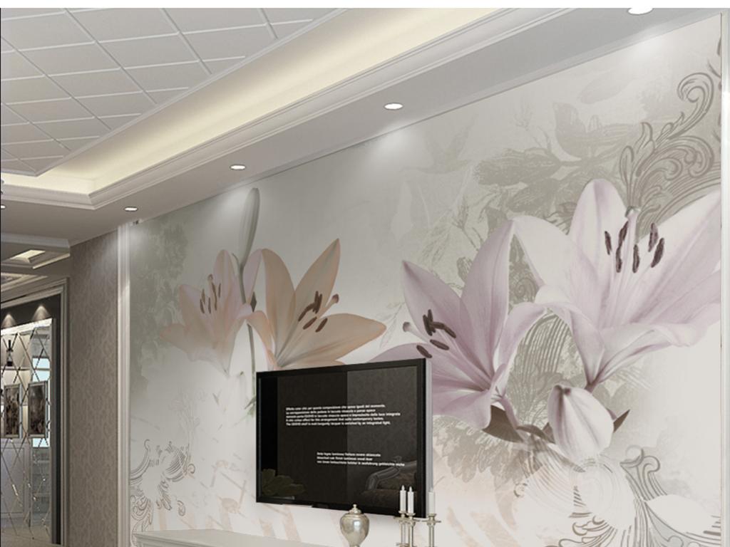 我图网提供精品流行欧式3d百合花大理石纹背景墙