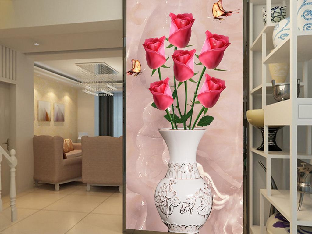 时尚立体玫瑰创意空间玄关图片