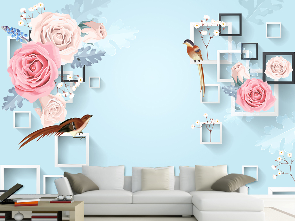 3d手绘花鸟电视背景墙