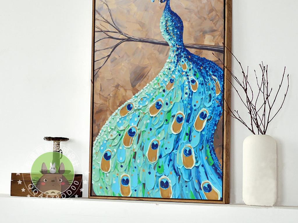 欧式油画怀旧蓝孔雀无框装饰画