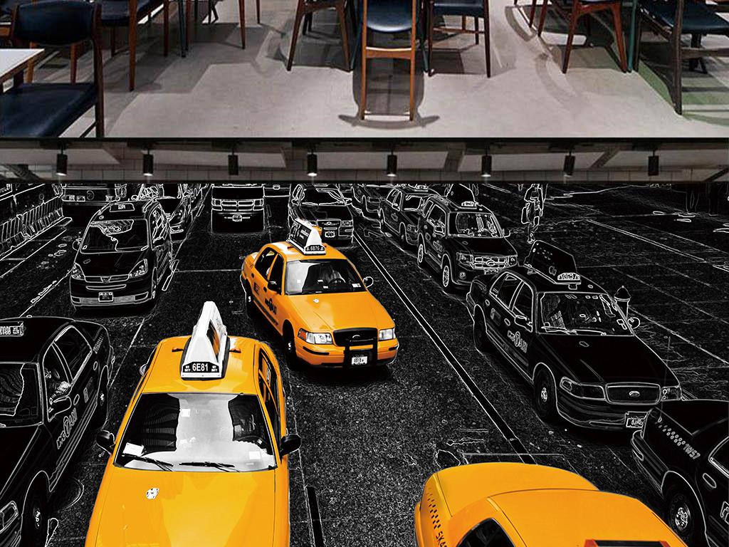 木板出租车汽车背景个性汽车背景墙潮流个性背景个性
