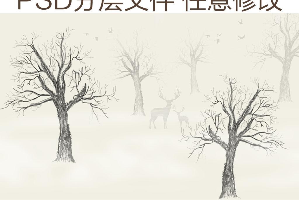 森系麋鹿女孩手绘黑白