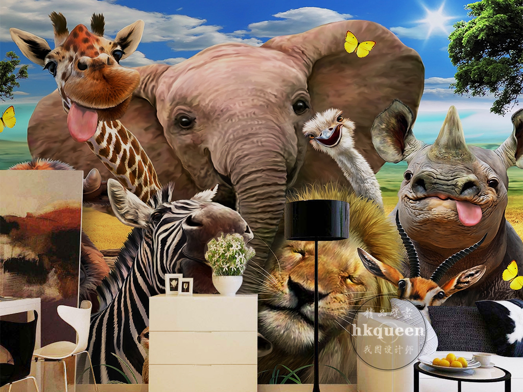 我图网提供精品流行现代卡通可爱动物世界大象斑马狮子鹿背景墙素材下载,作品模板源文件可以编辑替换,设计作品简介: 现代卡通可爱动物世界大象斑马狮子鹿背景墙 位图, RGB格式高清大图,使用软件为 Photoshop CS6(.tif不分层)