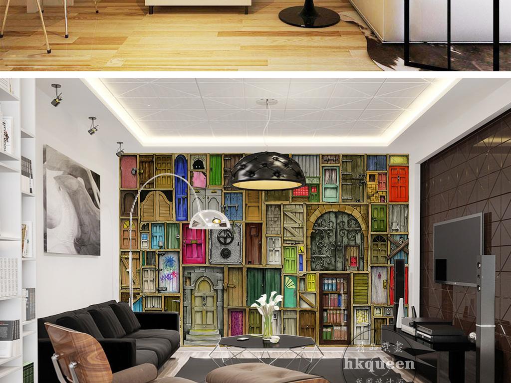 欧式复古大气仿书房装饰保险柜木板背景墙