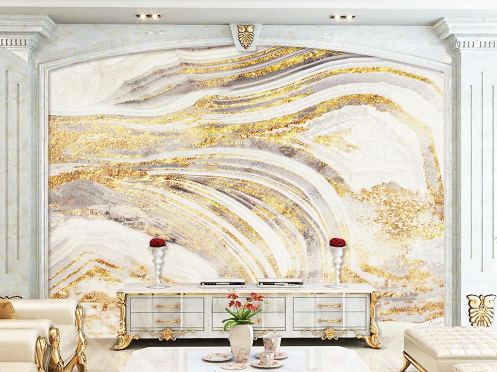 欧式奢华金箔鎏金拉丝纹理电视背景墙