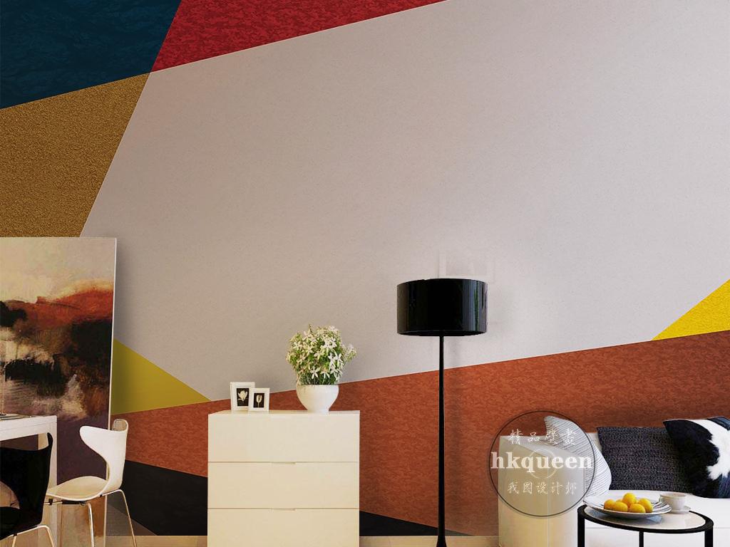 北欧现代简约简单几何图形色彩纹理背景墙图片