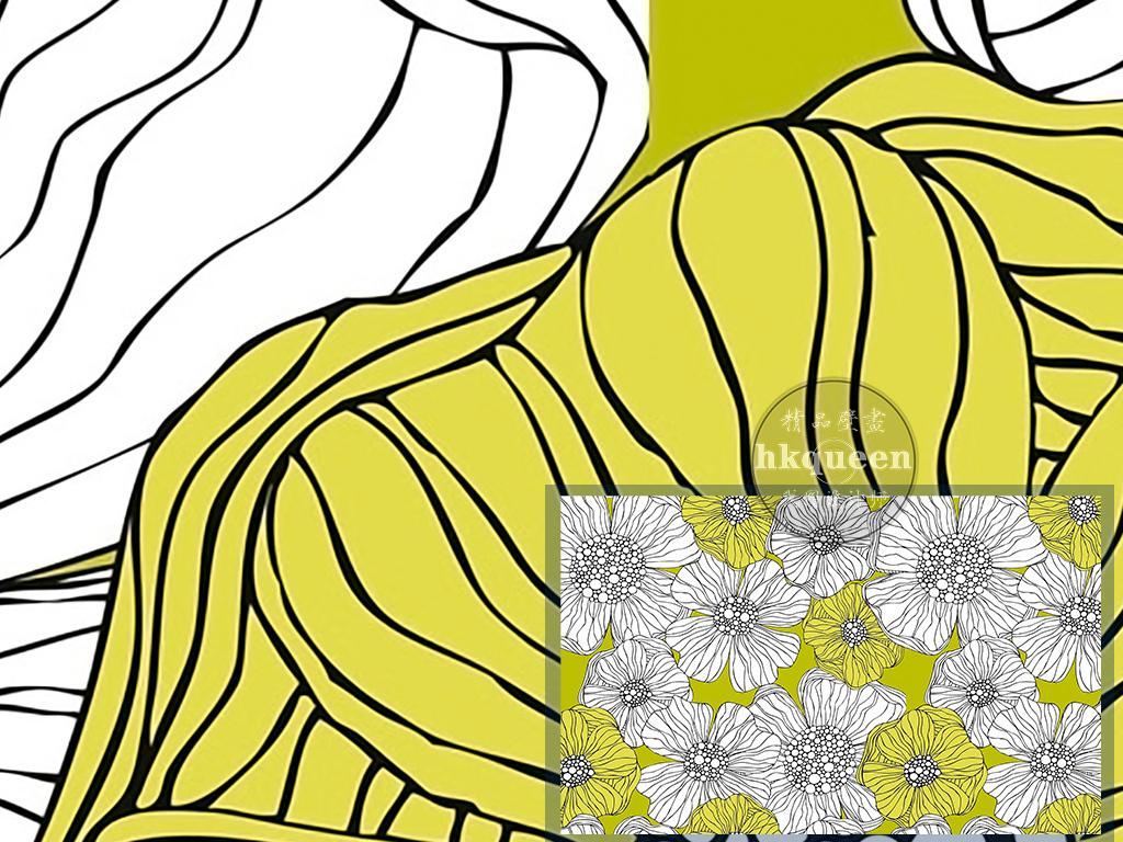 现代简约手绘花卉简单线条图案工装背景墙图片